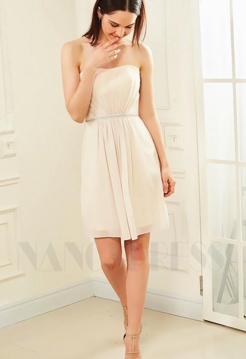 robe bustier champagne pâle courte