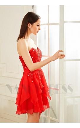 robe bustier rouge feu courte