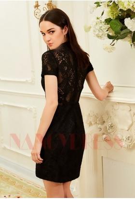 robe cocktail black Lace courte