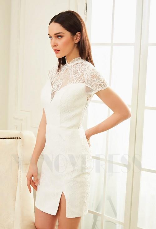 robe cocktail blanc dentelle courte