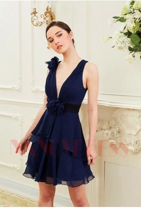 robe de cocktail bleu marine courte