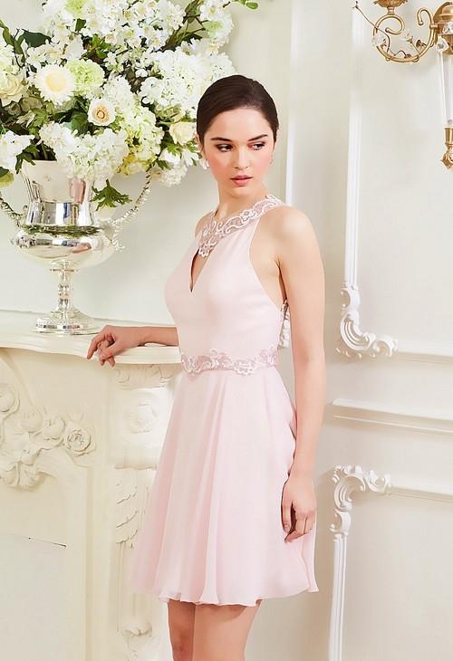 robe de cocktail rose courte