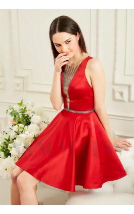 robe de cocktail rouge bordeaux courte