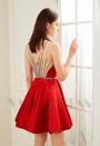 robe de cocktail rouge feu courte