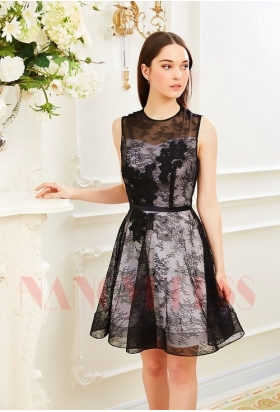 robes de cocktail black Lace courte D011