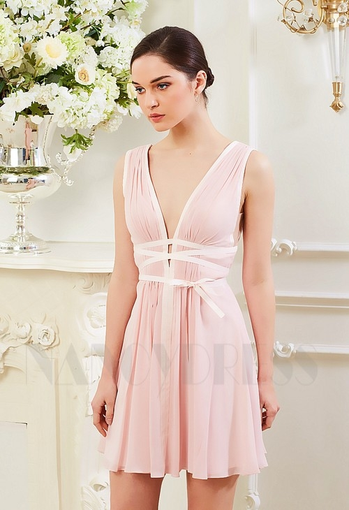 robes de cocktail rose courte