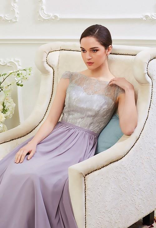robe de soirée gris pale long