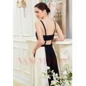 robe de soirée longue noire et blanc long