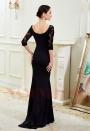 robe soirée noire long H010
