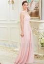robe soirée rose long H002