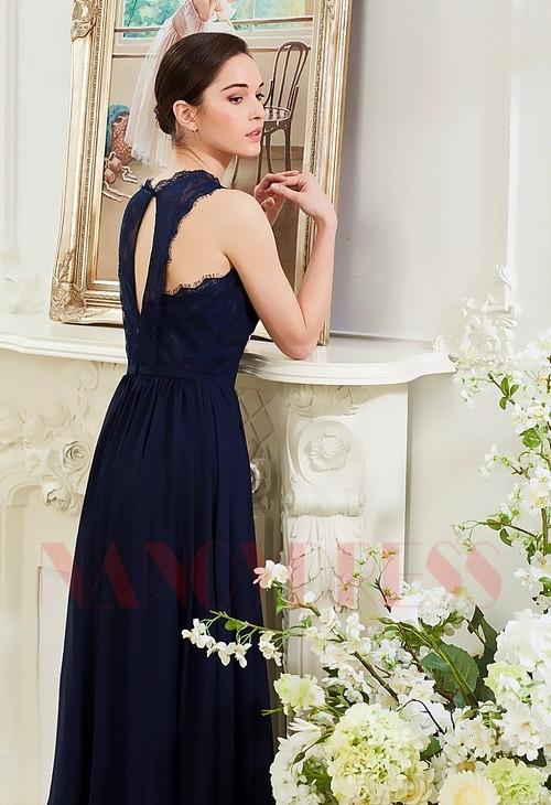 robes soirée bleu marine long H005
