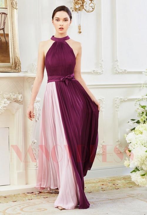 robes soirée pourpre et rose long