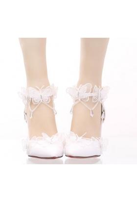 chaussure blanc Mariage curuba rouge