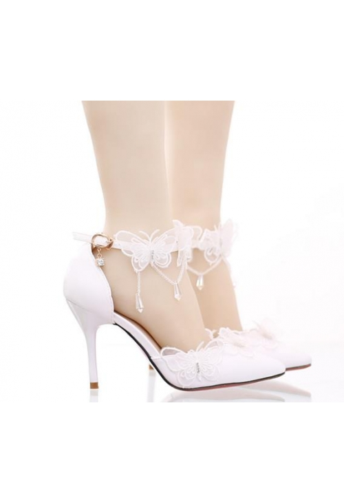chaussure blanc Mariage curuba rouge