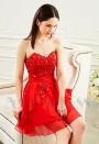 robe bustier rouge feu courte D007