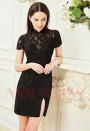 robe cocktail black Lace courte