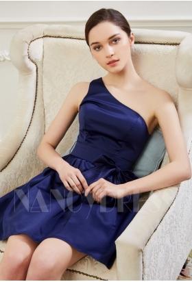 robe de cocktail bleu marine courte D045