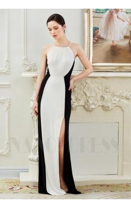 robe de soirée pas cher noire et blanc long