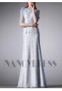 robe de soirée bleu turquoise long H019