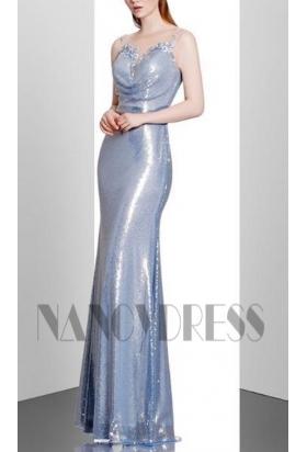robe de soirée bleu turquoise long
