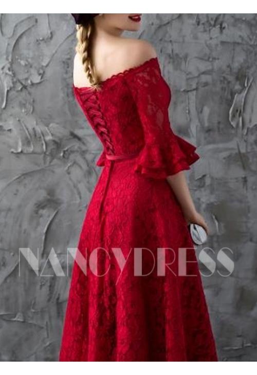 robe de soirée pas cher bordeaux long