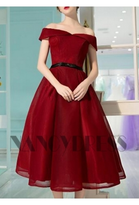 robe cocktail bordeaux courte D021