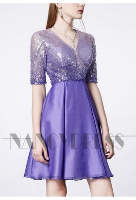 robe cocktail pourpre courte D026