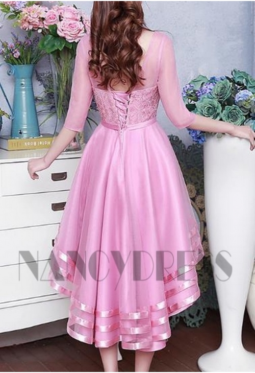 robe de cocktail rose courte