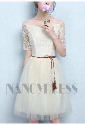 robe de cocktail champagne pâle courte