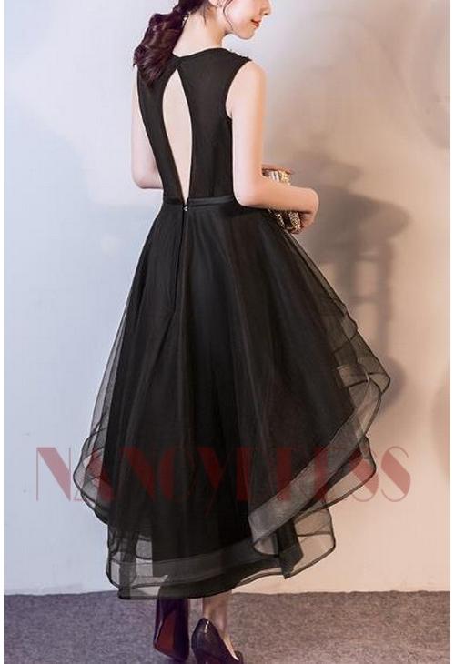 robes cocktail noire courte D024