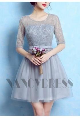 vetement pas cher gris robe courte