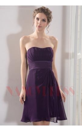 robe bustier pourpre courte