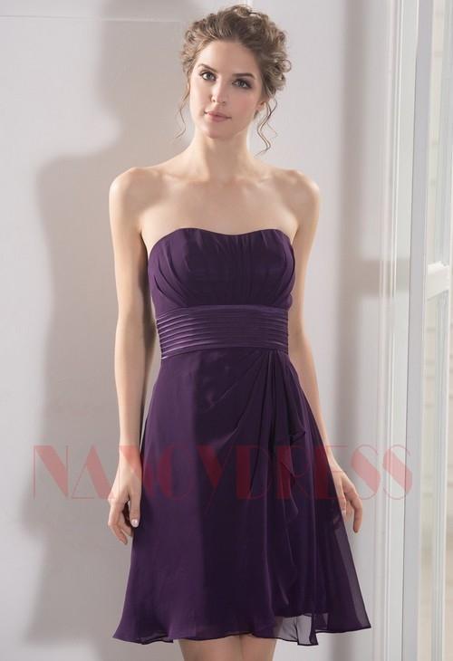 robe bustier pourpre courte D050
