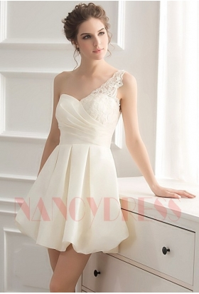 robe cocktail blanc courte D048