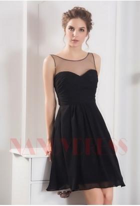robe de cocktail noire courte D056