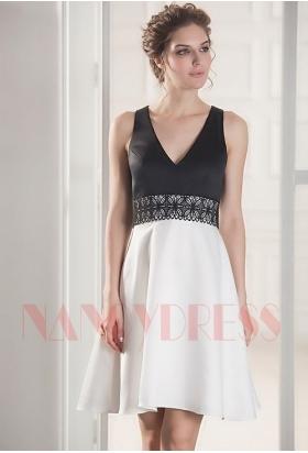 robe de cocktail noire et blanc courte