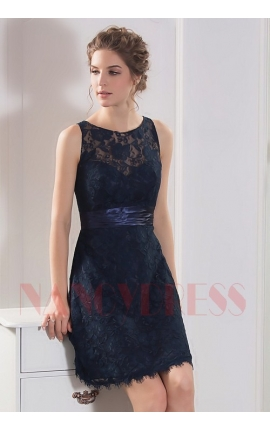 robe dos nu bleu marine courte