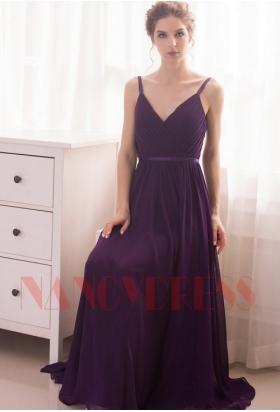 robe de soirée pourpre long H046