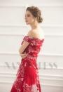 robe de soirée grande jupe imprimée rouge long