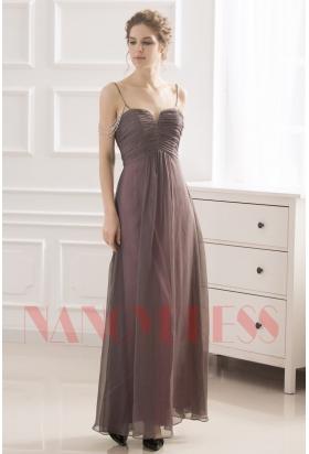 robe de soirée gris long H035