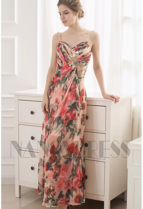 robe de soirée jupe imprimée long