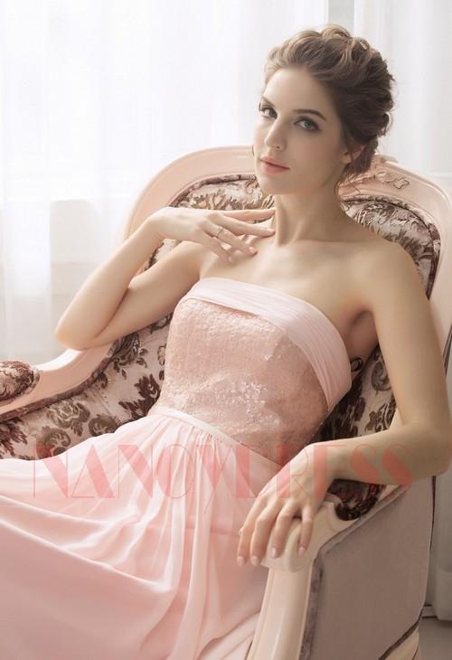 robe de soirée pas cher rose long