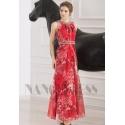 robe de soirée pas cher grande jupe imprimée rouge long