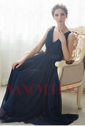 robe soirée bleu marine long