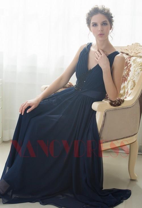 Robe de soirée bleu marine long   Nancydress 4868fbe7755e