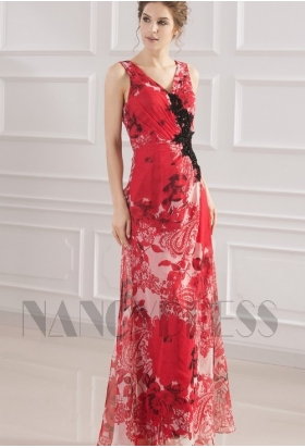 robe soirée grande jupe imprimée rouge long