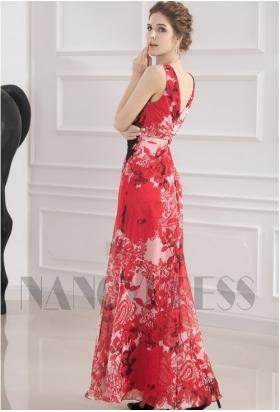 robe soirée grande jupe imprimée rouge long H036