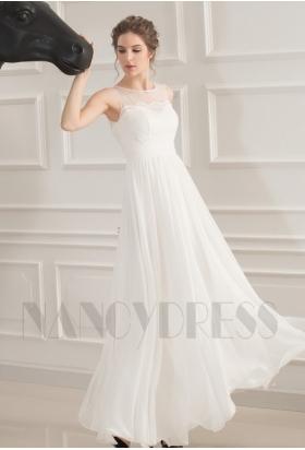 robes de soirée blanc long H032
