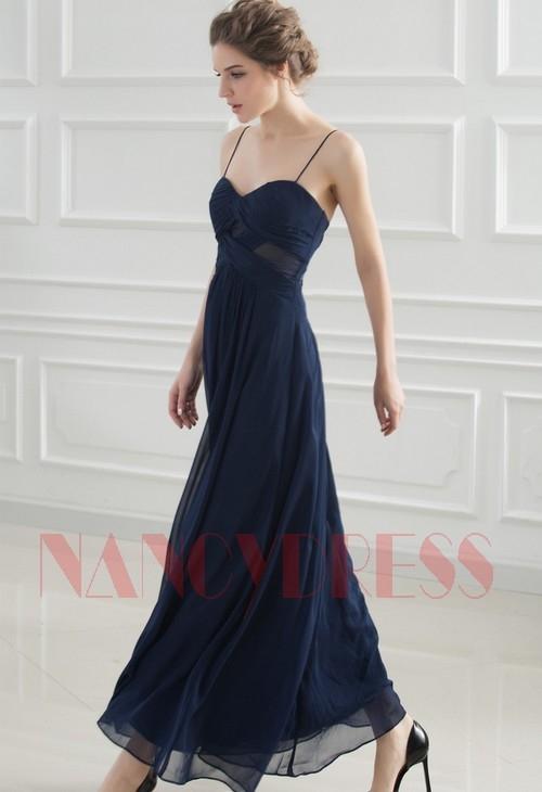 robes soirée bleu long H033
