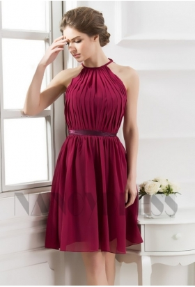 robe cocktail bordeaux courte D070